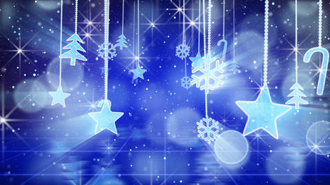 blue christmas hanging decorations loopable flying Stock Video Footage