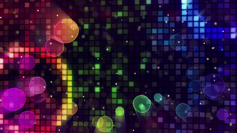 colorful sparkling disco wall and bokeh lights loo Animation