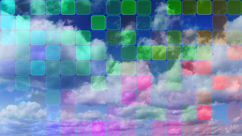 loopable clouds and colorful mosaic Stock Video Footage