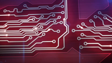 red digital circuit board and signals pan loop Animation