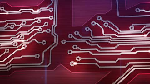 red digital circuit board and signals pan loop Stock Video Footage