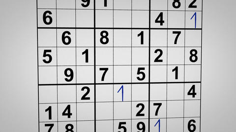 montage of solving sudoku puzzle animation Stock Video Footage