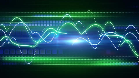 blue green curves and squares tech background loop Animation