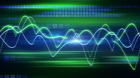 blue green curves and squares tech background loop Stock Video Footage