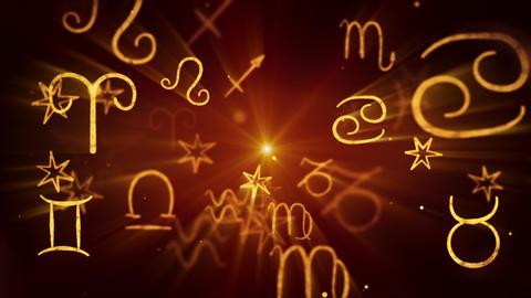 shining zodiac symbols loop background Stock Video Footage
