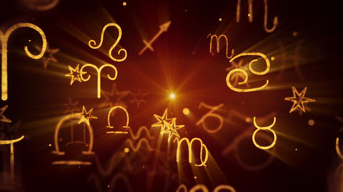 shining zodiac symbols loop background Animation