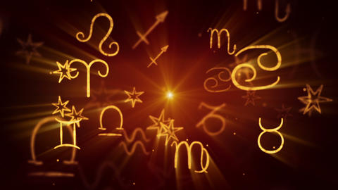 shining zodiac symbols loop background Stock Video Footage