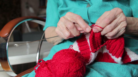 knitting hands of old woman Stock Video Footage