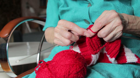knitting hands of old woman Footage