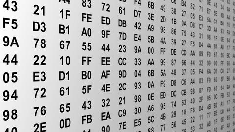 hexadecimal digital data columns tilt loop Animation