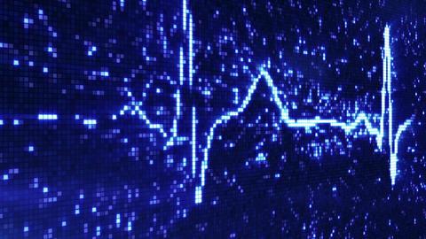 digital pixel EKG pulse blue loop Stock Video Footage
