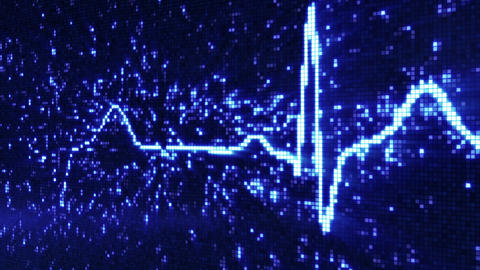 digital pixel EKG pulse blue loop Animation