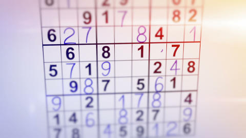 solving sudoku puzzle animation Stock Video Footage