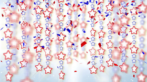 red blue stars and confetti loop background Stock Video Footage