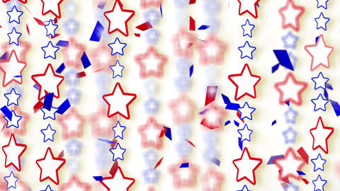 red blue stars and confetti loop background Animation