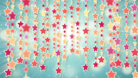 dangling colorful stars loop background Stock Video Footage