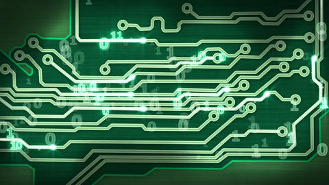 green circuit board providing signals loop Stock Video Footage