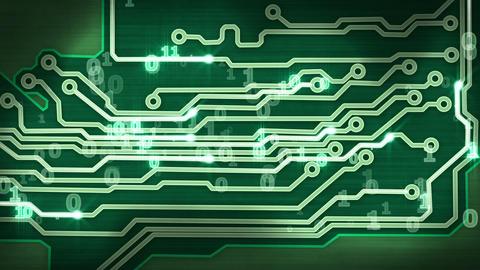 green circuit board providing signals loop Animation
