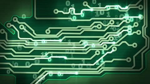 green circuit board providing signals loop Stock Video Footage