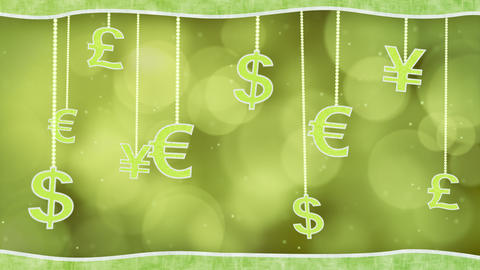 green currency signs dangling on strings loop back Stock Video Footage