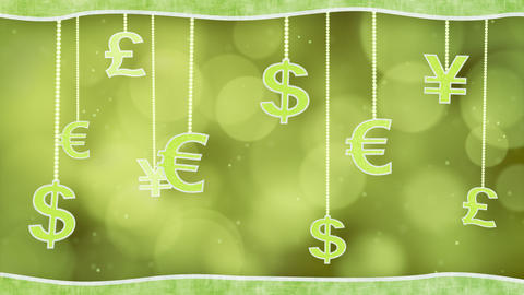 green currency signs dangling on strings loop back Animation