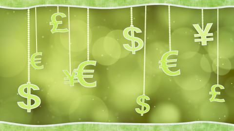 green currency signs dangling on strings loop back Stock Video Footage
