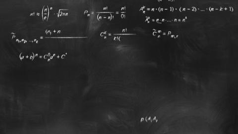 math physics formulas on chalkboard flying camera Stock Video Footage