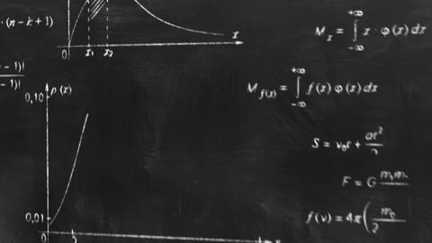 math physics formulas on chalkboard flying camera Stock Video Footage