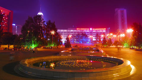 people on night festive square timelapse Stock Video Footage