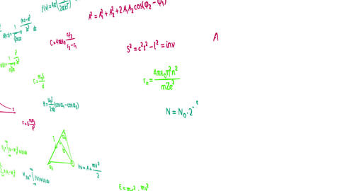 multicolor math physics formulas on white panning Stock Video Footage