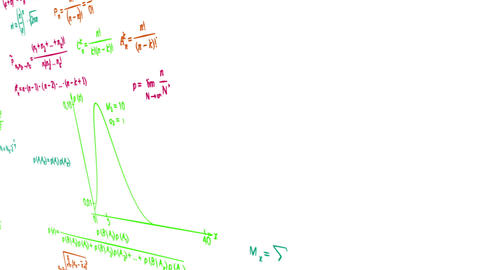 multicolor math physics formulas on white panning  Animation