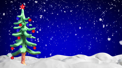 clay animation christmas tree and snowfall loopabl Stock Video Footage