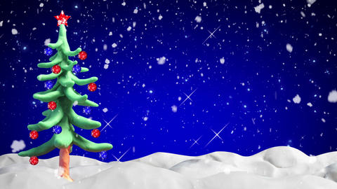 clay animation christmas tree and snowfall loopabl Animation