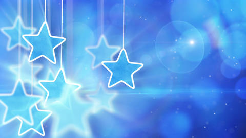 blue hanging stars and bokeh lights loop backgroun Animation