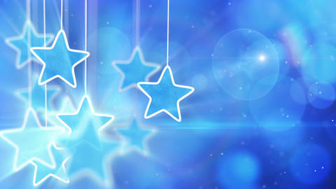 blue hanging stars and bokeh lights loop backgroun Stock Video Footage