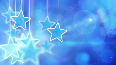 blue hanging stars and bokeh lights loop backgroun Stock Video Footage