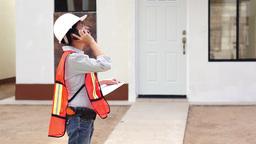 Female Construction Boss Phone Stock Video Footage