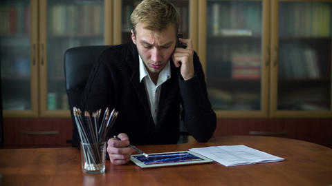 Businessman On The Phone While Working 1 Stock Video Footage