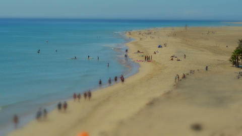 people beach live tilt shift time lapse 11099 Footage