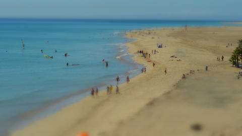 people beach live tilt shift time lapse 11099 Stock Video Footage