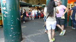 A crowded day at London Borough Market.(LONDON Bor Footage