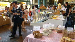 A Bread Stall At LONDON Borough Market (LONDON Bor stock footage