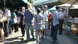 walk & shot video at Borough Market (with sound) (LONDON... Stock Video Footage
