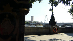 Distant view of London Eye & Westminster Bridge from a... Stock Video Footage