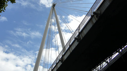 Underside view of Hungerford Bridge London(LONDON Stock Video Footage