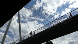 Underside view of Hungerford Bridge (LONDON Hunger Stock Video Footage