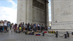 ETERNAL FLAME OF THE ARC DE TRIOMPHE.WITH SOUND. ( Stock Video Footage