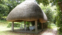 Thatched Pavilion With A Bath Tub, London (Thatche stock footage