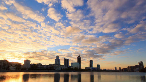 Sunset on the waterfront. Ekaterinburg, Russia. Ti Stock Video Footage