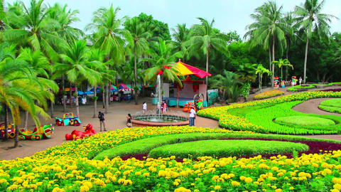 peoples walks in Nong Nooch tropical garden in Tha Stock Video Footage